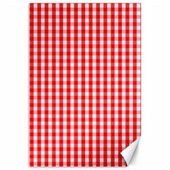 Christmas Red Velvet Large Gingham Check Plaid Pattern Canvas 12  x 18