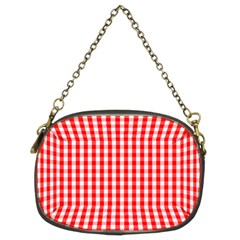 Christmas Red Velvet Large Gingham Check Plaid Pattern Chain Purses (Two Sides)