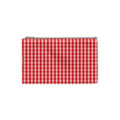 Christmas Red Velvet Large Gingham Check Plaid Pattern Cosmetic Bag (Small)