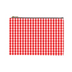 Christmas Red Velvet Large Gingham Check Plaid Pattern Cosmetic Bag (Large)
