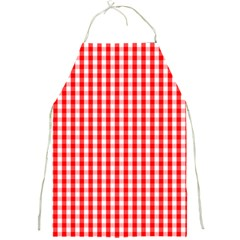 Christmas Red Velvet Large Gingham Check Plaid Pattern Full Print Aprons