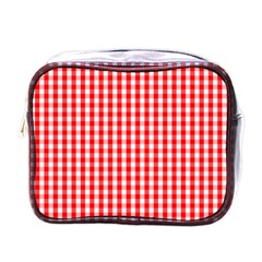 Christmas Red Velvet Large Gingham Check Plaid Pattern Mini Toiletries Bags