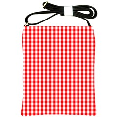 Christmas Red Velvet Large Gingham Check Plaid Pattern Shoulder Sling Bags