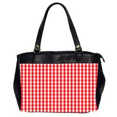 Christmas Red Velvet Large Gingham Check Plaid Pattern Office Handbags (2 Sides)