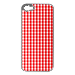 Christmas Red Velvet Large Gingham Check Plaid Pattern Apple iPhone 5 Case (Silver)