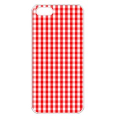 Christmas Red Velvet Large Gingham Check Plaid Pattern Apple iPhone 5 Seamless Case (White)