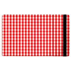 Christmas Red Velvet Large Gingham Check Plaid Pattern Apple iPad 3/4 Flip Case