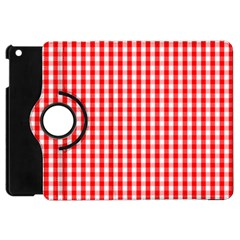 Christmas Red Velvet Large Gingham Check Plaid Pattern Apple iPad Mini Flip 360 Case