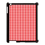 Christmas Red Velvet Large Gingham Check Plaid Pattern Apple iPad 3/4 Case (Black) Front