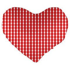 Christmas Red Velvet Large Gingham Check Plaid Pattern Large 19  Premium Heart Shape Cushions