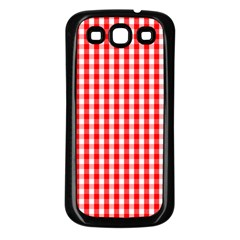 Christmas Red Velvet Large Gingham Check Plaid Pattern Samsung Galaxy S3 Back Case (Black)
