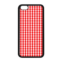 Christmas Red Velvet Large Gingham Check Plaid Pattern Apple iPhone 5C Seamless Case (Black)
