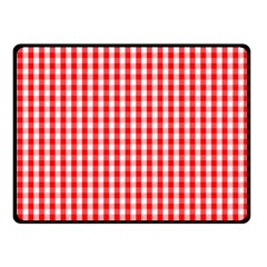 Christmas Red Velvet Large Gingham Check Plaid Pattern Double Sided Fleece Blanket (Small)