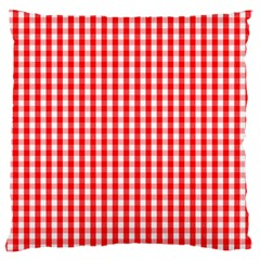 Christmas Red Velvet Large Gingham Check Plaid Pattern Large Flano Cushion Case (Two Sides)