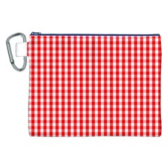 Christmas Red Velvet Large Gingham Check Plaid Pattern Canvas Cosmetic Bag (XXL)