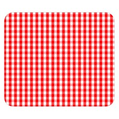 Christmas Red Velvet Large Gingham Check Plaid Pattern Double Sided Flano Blanket (Small)