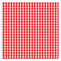 Christmas Red Velvet Large Gingham Check Plaid Pattern Large Satin Scarf (Square)
