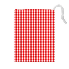 Christmas Red Velvet Large Gingham Check Plaid Pattern Drawstring Pouches (Extra Large)