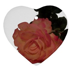 Poppys Last Rose Close Up Heart Ornament (Two Sides)