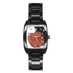Poppys Last Rose Close Up Stainless Steel Barrel Watch