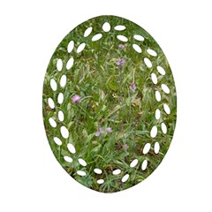 Pink Wildflowers Ornament (Oval Filigree)