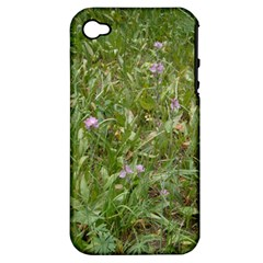 Pink Wildflowers Apple iPhone 4/4S Hardshell Case (PC+Silicone)