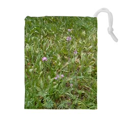 Pink Wildflowers Drawstring Pouches (Extra Large)