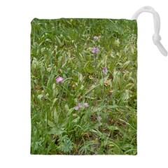Pink Wildflowers Drawstring Pouches (XXL)