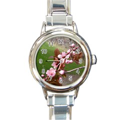 Pink Flowers  Round Italian Charm Watch