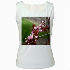Pink Flowers  Women s White Tank Top