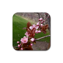 Pink Flowers  Rubber Coaster (Square)