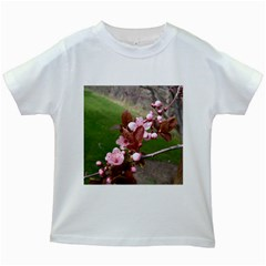 Pink Flowers  Kids White T-Shirts