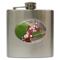 Pink Flowers  Hip Flask (6 Oz)