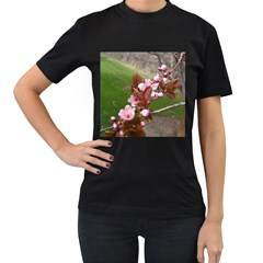 Pink Flowers  Women s T-Shirt (Black) (Two Sided)