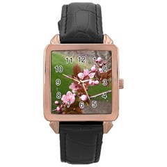 Pink Flowers  Rose Gold Leather Watch