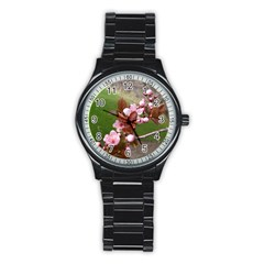 Pink Flowers  Stainless Steel Round Watch