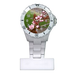 Pink Flowers  Plastic Nurses Watch