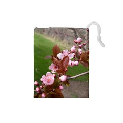 Pink Flowers  Drawstring Pouches (Small)
