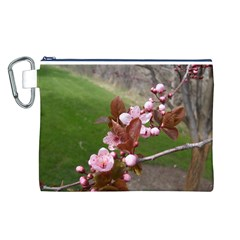 Pink Flowers  Canvas Cosmetic Bag (L)