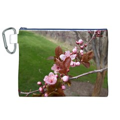 Pink Flowers  Canvas Cosmetic Bag (XL)