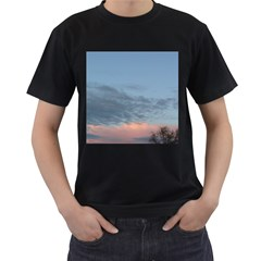 Pink Cloud Sunset Men s T-Shirt (Black) (Two Sided)