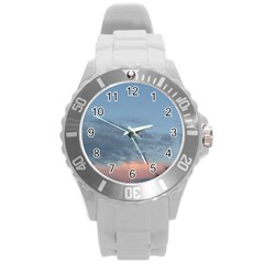 Pink Cloud Sunset Round Plastic Sport Watch (L)