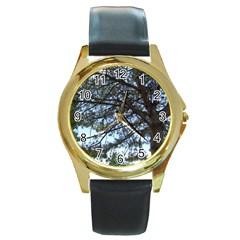 Pine Tree Reaching Round Gold Metal Watch