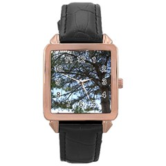 Pine Tree Reaching Rose Gold Leather Watch