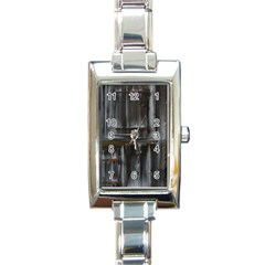 Alpine Hut Almhof Old Wood Grain Rectangle Italian Charm Watch