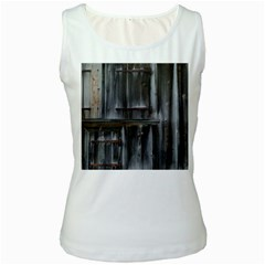 Alpine Hut Almhof Old Wood Grain Women s White Tank Top
