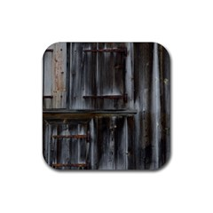 Alpine Hut Almhof Old Wood Grain Rubber Square Coaster (4 pack)