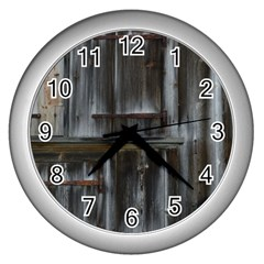 Alpine Hut Almhof Old Wood Grain Wall Clocks (silver)