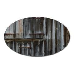 Alpine Hut Almhof Old Wood Grain Oval Magnet