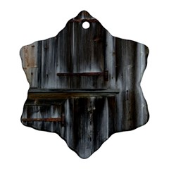 Alpine Hut Almhof Old Wood Grain Snowflake Ornament (Two Sides)